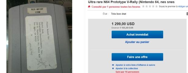 Voila ce que coûte actuellement un proto d'un jeu banal sur N64.